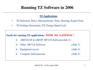 Running TZ Software in 2006