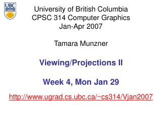 Viewing/Projections II Week 4, Mon Jan 29