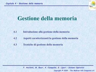 4.1Introduzione alla gestione della memoria