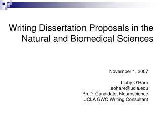 Writing Dissertation Proposals in the Natural and Biomedical Sciences