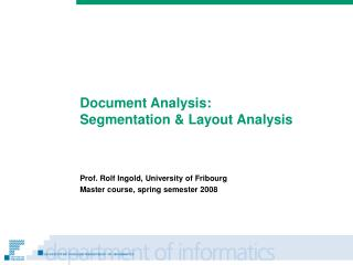Document Analysis: Segmentation & Layout Analysis