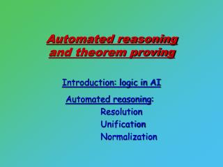 Automated reasoning  and theorem proving