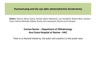 Punctual plug and dry eye after photorefractive keratectomy