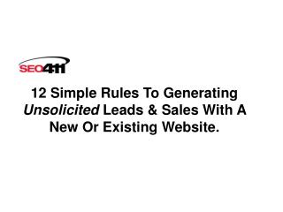 12 Simple Rules To Generating  Unsolicited  Leads & Sales With A New Or Existing Website.