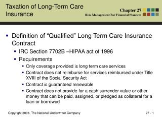 Taxation of Long-Term Care Insurance