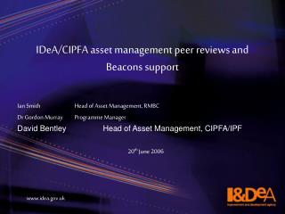 IDeA/CIPFA asset management peer reviews and Beacons support