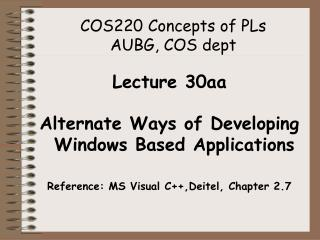 COS220 Concepts of PLs  AUBG, COS dept