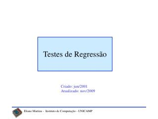 Testes de Regressão