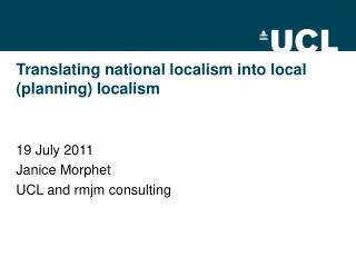 Translating national localism into local (planning) localism
