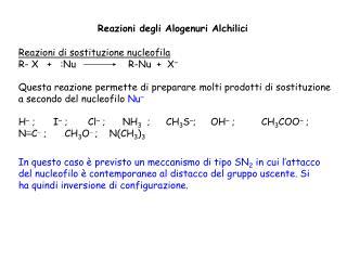 Reazioni degli Alogenuri Alchilici