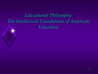 Educational Philosophy:  The Intellectual Foundations of American Education