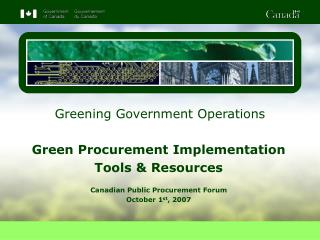 Greening Government Operations