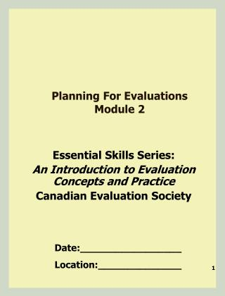 Planning For Evaluations  Module 2