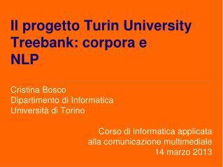 Il progetto Turin University Treebank: corpora e  NLP