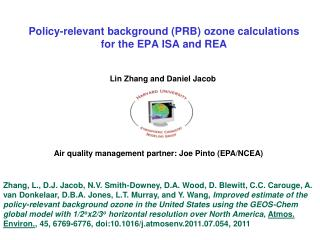 Policy-relevant background (PRB) ozone calculations  for the EPA ISA and REA