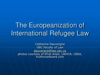 The Europeanization of International Refugee Law