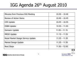 IGG Agenda 26 th  August 2010
