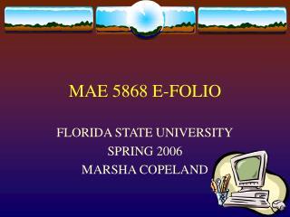 MAE 5868 E-FOLIO