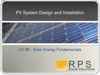 PV System Design and Installation