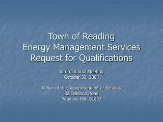 Town of Reading Energy Management Services Request for Qualifications