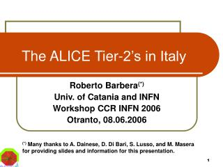 The ALICE Tier-2's in Italy