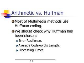 Arithmetic vs. Huffman