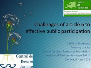 Challenges of article 6 to effective public participation