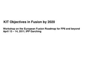 KIT Objectives in Fusion by 2020