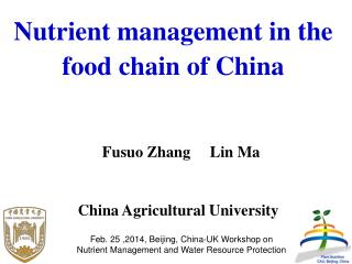 Nutrient management in the food chain of China