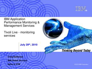 IBM Application Performance Monitoring & Management Services Tivoli Live - monitoring services