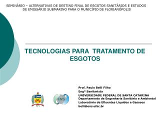 TECNOLOGIAS PARA  TRATAMENTO DE ESGOTOS