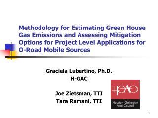 Graciela Lubertino, Ph.D. H-GAC Joe Zietsman, TTI Tara Ramani, TTI