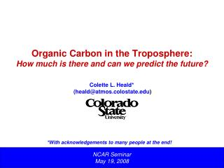 Organic Carbon in the Troposphere:  How much is there and can we predict the future?