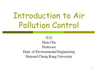 Introduction to Air Pollution Control