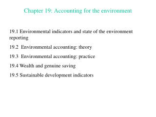 Chapter 19: Accounting for the environment