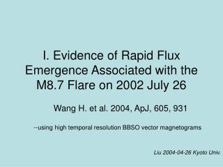 I. Evidence of Rapid Flux Emergence Associated with the M8.7 Flare on 2002 July 26