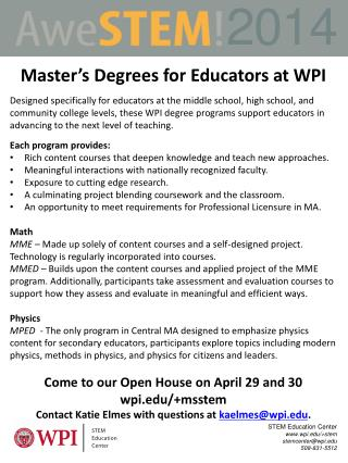 STEM Education Center  wpi/+stem stemcenter@wpi 508-831-5512