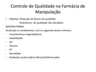 Controle de Qualidade na Farmácia de Manipulação