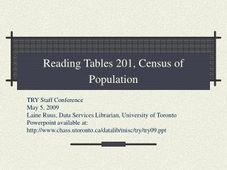 Reading Tables 201, Census of Population