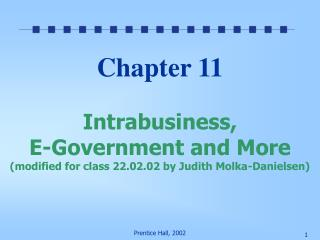 Chapter 11  Intrabusiness, E-Government and More modified for class 22.02.02 by Judith Molka-Danielsen
