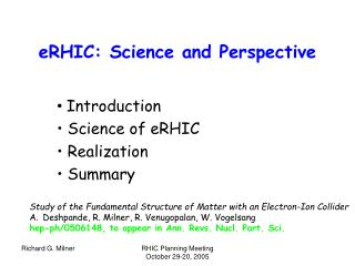eRHIC: Science and Perspective