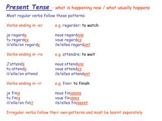 Present Tense - what is happening now
