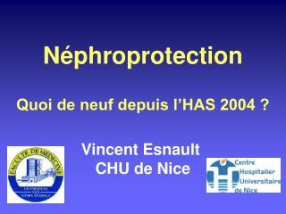 Néphroprotection Quoi de neuf depuis l'HAS 2004 ? Vincent Esnault  CHU de Nice