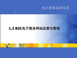 1.2 B2C 电子商务网站运营与管理