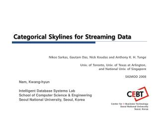 Categorical Skylines for Streaming Data
