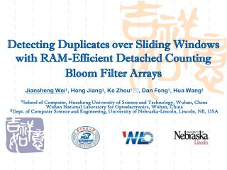 Detecting Duplicates over Sliding Windows with RAM-Efficient Detached Counting Bloom Filter Arrays