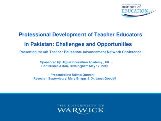 Sponsored by Higher Education Academy , UK Conference Aston, Birmingham May 17, 2013