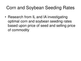 Corn and Soybean Seeding Rates