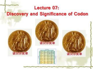 Lecture 07:  Discovery and Significance of Codon