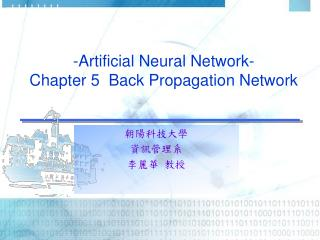 -Artificial Neural Network- Chapter 5  Back Propagation Network